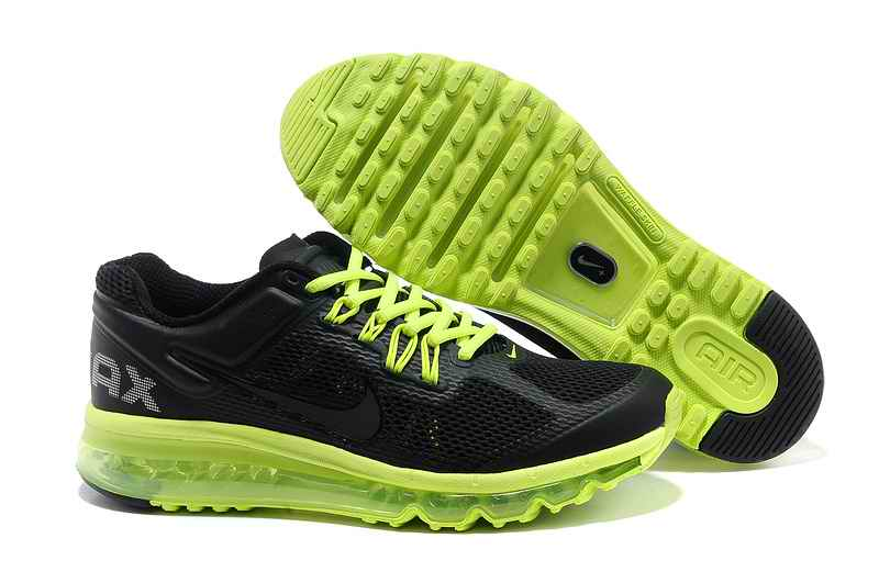 Discount Nike Air Max 2015 Mesh Cloth Men Running Shoes - Black Green ZA127840